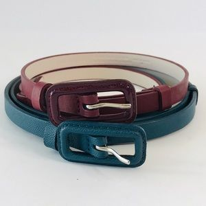 2 -The Limited- Adjustable Skinny Leather Belts M
